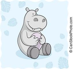Glückliches Comic Nilpferd Vektor - Glückliches Comic...