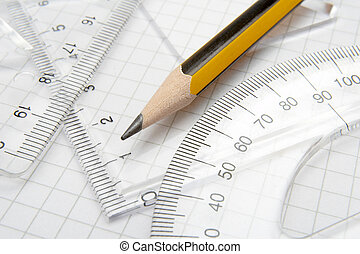 pencil math 1 - close up of different rulers and school...