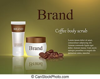 Body scrub coffee, cream, gel, body lotion on brown background, cosmetics design, coffee beans, beauty, advertisement, banner, poster, 3d vector, realistic illustration