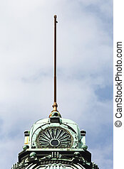 Flagpole Without Flag at Top of Building Dome in Ljubljana
