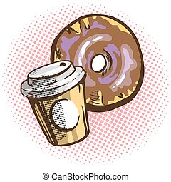 Vector chocolate donuts and cup of coffee. Cartoon pop art...