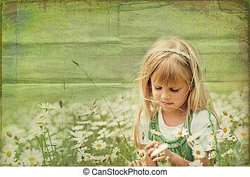 Summer Dreams - Little girl in a daisy field with textured...