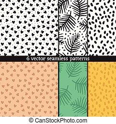 Hand drawn seamless pattern set