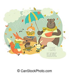 Cute girl reading book to wild animals