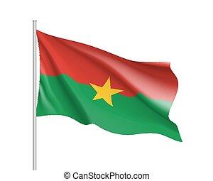 Burkina Faco realistic flag - Burkina Faco flag....
