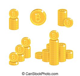 Piles gold bitcoins isolated cartoon set. A lot of stacks...