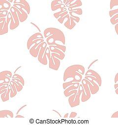 Summer seamless pattern with pink monstera palm leaves on white background