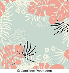 Summer seamless tropical pattern with monstera palm leaves, plants and flowers on blue background