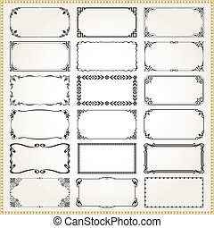 Decorative frames and borders rectangle 2x1 proportions set 3