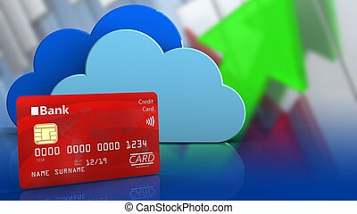 3d bank card - 3d illustration of clouds over arrows graph...