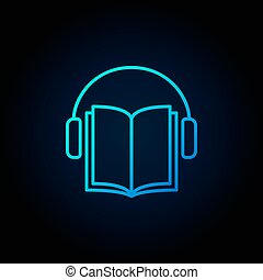 Audiobook vector blue icon. Headphones with book concept...
