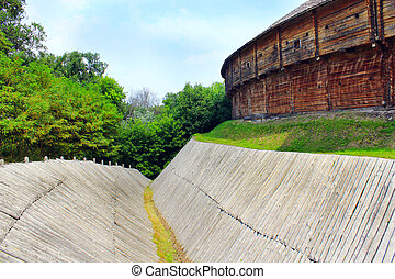 Baturyn Citadel with protective ditch. Ancient Slavonic...
