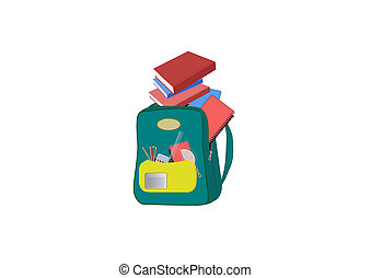 Heavy schoolbag illustration
