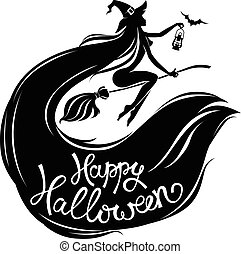 Silhouette  beautiful witch on broomstick with text.