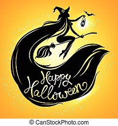 Silhouette witch on broomstick with text
