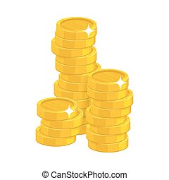 Stack gold coins isolated cartoon. Bunches of gold coins for...