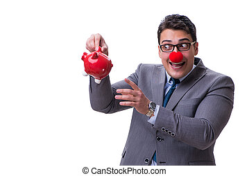 Funny clown businessman with a piggy bank isolated on white back