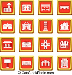 City infrastructure items icons set red - City...