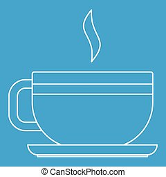Tea cup icon, outline style - Tea cup icon blue outline...