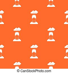 Depressed man with dark cloud over his head pattern seamless...