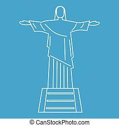 Statue of Jesus Christ, Rio de Janeiro icon blue outline...