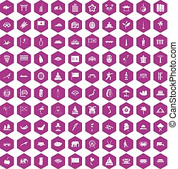 100 asian icons hexagon violet - 100 asian icons set in...