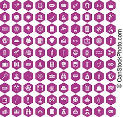 100 adult games icons hexagon violet - 100 adult games icons...