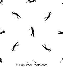 Golf player pattern seamless black
