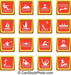 Water sport icons set red - Water sport icons set in red...