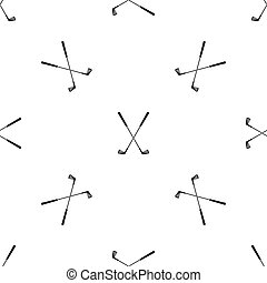 Two golf clubs pattern seamless black - Two golf clubs...