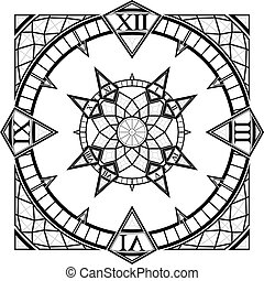 Clock Watch Gothic Tattoo Compass Vector