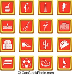 Argentina travel items icons set red - Argentina travel...