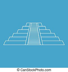 Chichen Itza Maya ruins Mexico icon, outline style - Chichen...