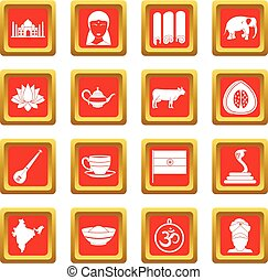 India travel icons set red - India travel icons set in red...