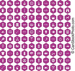 100 BBQ icons hexagon violet