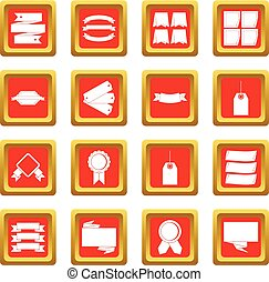 Different colorful labels icons set red