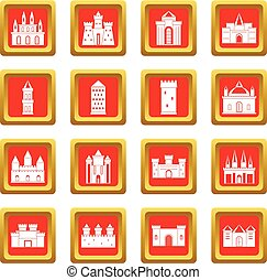Towers and castles icons set red - Towers and castles icons...