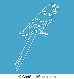 Parrot icon, simple style - Parrot icon blue outline style...