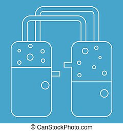 Two glasses icon, outline style - Two glasses icon blue...