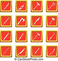 Steel arms symbols icons set red
