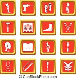 Orthopedics prosthetics icons set red - Orthopedics...