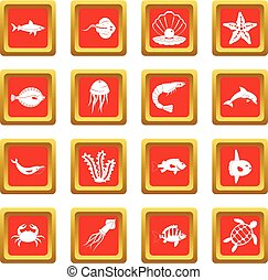 Sea animals icons set red