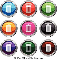 Trashcan set 9 collection - Trashcan set icon isolated on...