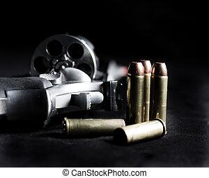 revólver, munições