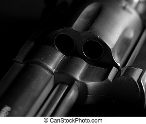 Revolver - Detail of a stainless steel revolver