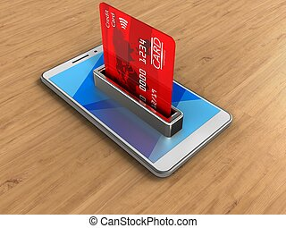 3d bank card - 3d illustration of white phone over wooden...