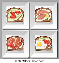 Sandwiches with salami, tomatoes, egg