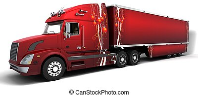 Christmas American semi-trucks - 3D render of Christmas...
