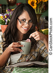 Beautiful Latina Woman with Tea