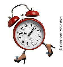 clock - close up of red closk with legs running on white...